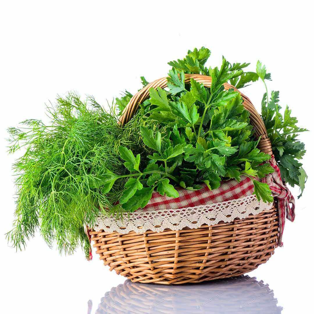 סלסלה עם תבלינים ירוקים